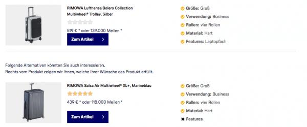 Screenshot des Gepäckberaters im Lufthansa WorldShop zur Verdeutlichung der Reasoning-Funktion für einen Online-Produktberater.