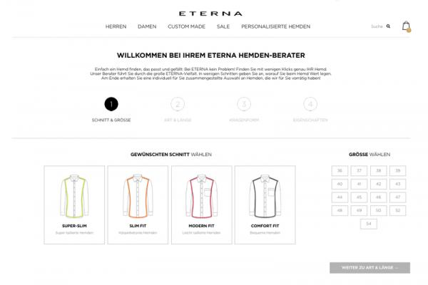 Screenshot des Eterna Hemdenberaters als Visualisierungsbeispiel für einen Online-Produktberater.