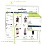 Der Screenshot des Online Shops Tom Tailor hebt die verschiedenen Aspekte einer Onsite-Suche hervor