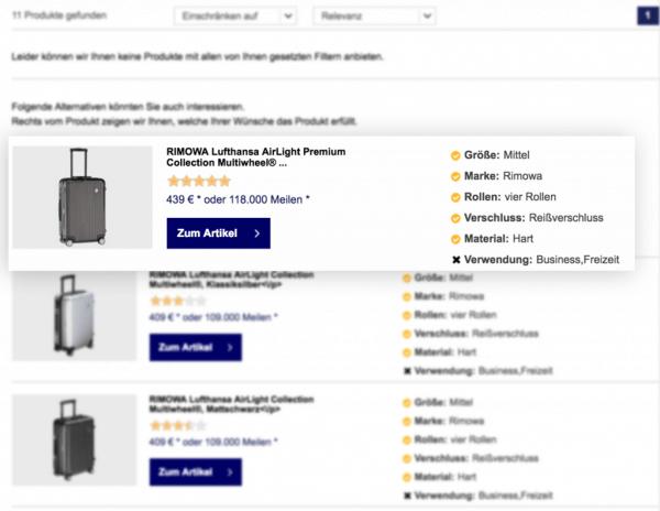 Die Reasoning-Funktion beim Online-Produktberater von Miles & More.