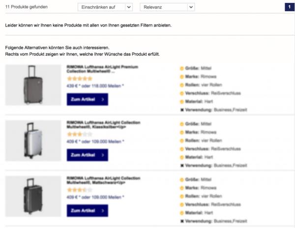 Kennzeichnung alternativer Produkte durch den Online-Produktberater von Miles & More.
