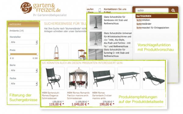 Relevante Produktempfehlungen und optimierte Suchergebnisse im Online-Shop von Garten & Freizeit