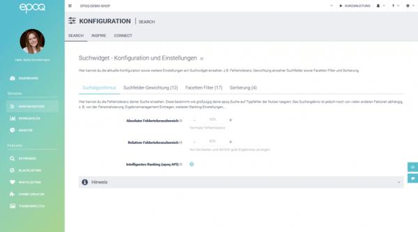 Der Screenshot zeigt die Konfigurations- und Einstellungsmöglichkeiten der intelligenten Suche im epoq Control Desk.