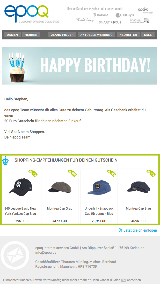 Ein Beispiel einer personalisierten Geburtstagsmail von epoq