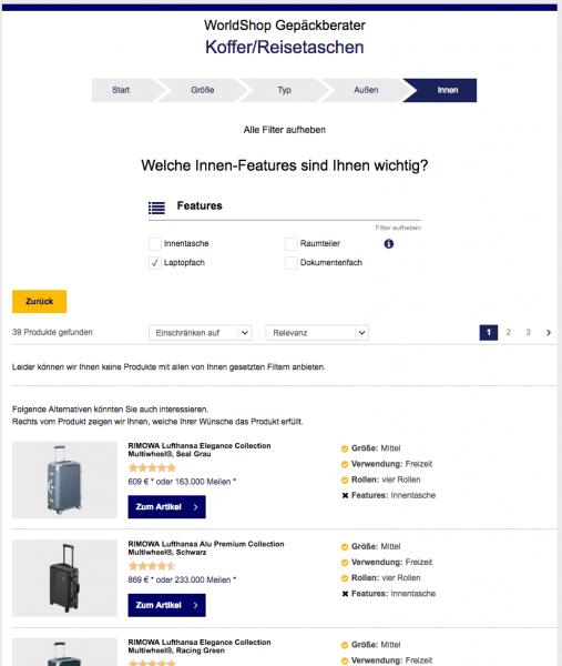 Screenshot von der Seite Worldshop Gepäckberater, die Features vom Produktfinder verwendet.