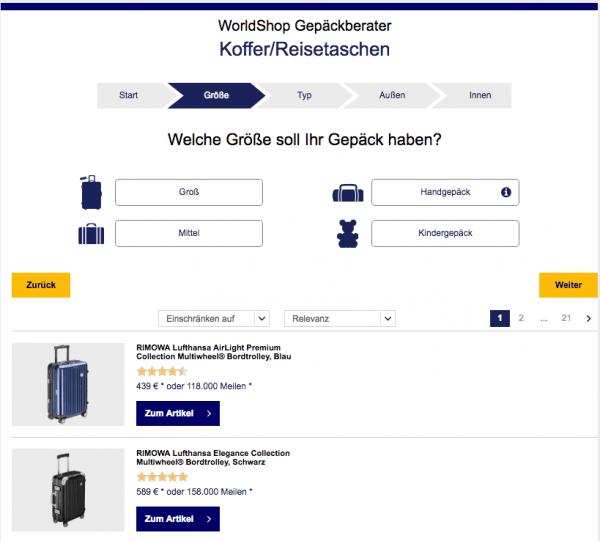 Screenshot von der Seite Worldshop Gepäckberater, die den Produktfinder verwendet.