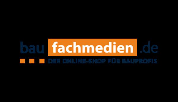 Das Bild zeigt das Logo von baufachmedien.de. Der Online Shop gehört zu den epoq Kunden.