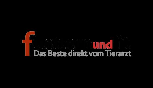 Das Bild zeigt das Logo von fuettern und fit. Der Online Shop gehört zu den epoq Kunden.