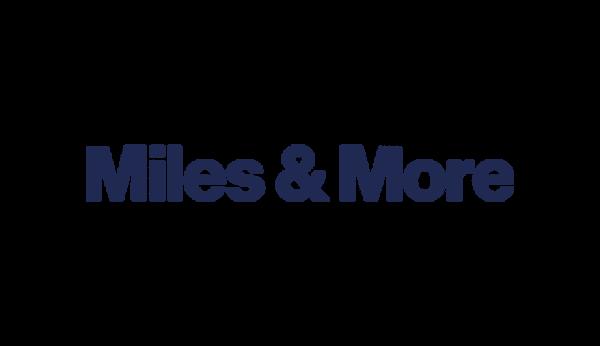 Das Bild zeigt das Logo von Miles&More. Der Online Shop gehört zu den epoq Kunden.