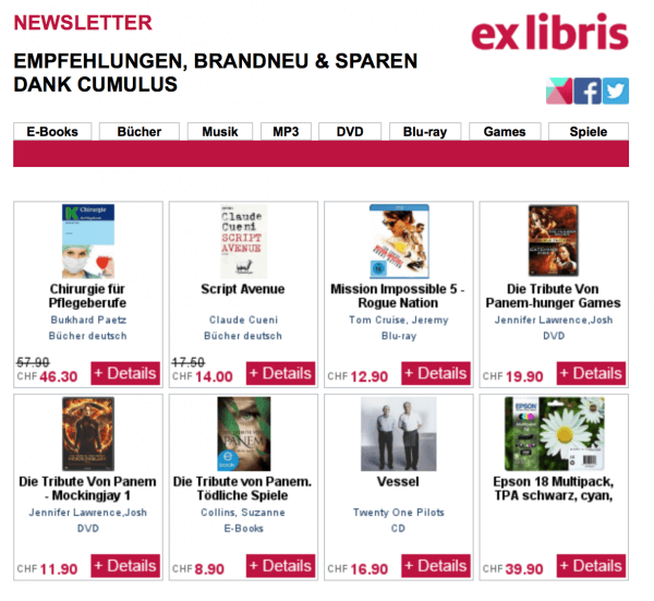 Personalisierte Empfehlungen bei Ex Libris