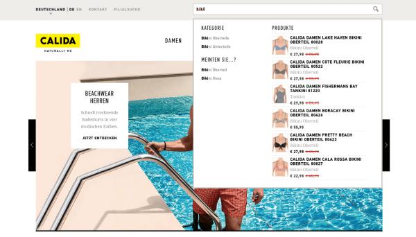 Screenshot der Funktion Autosuggest bei CALIDA, Suchwort biki.