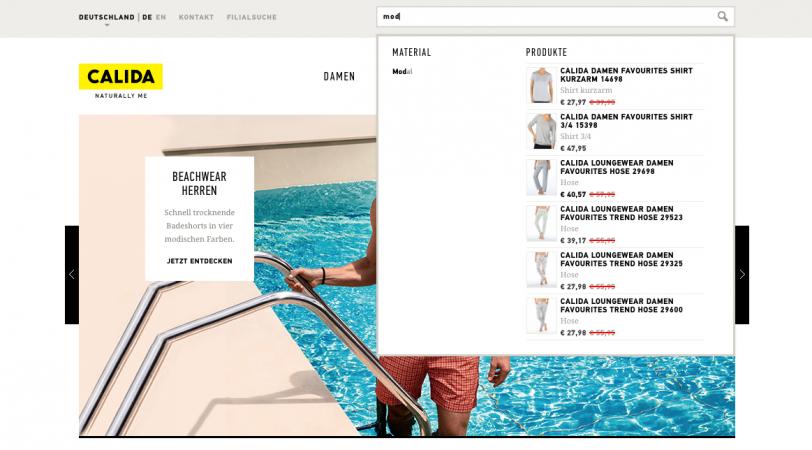 Der Screenshot zeigt die Autosuggest-Funktion des Online-Shops von CALIDA.