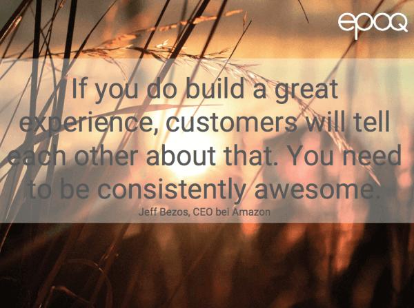 Dargestellt wird ein Zitat zum Thema Customer Experience von Jeff Bezos, dem CEO bei Amazon.