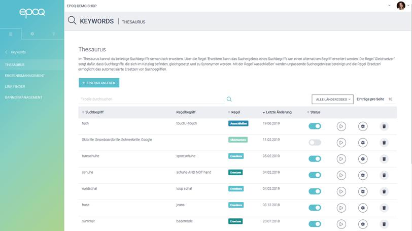 Der Screenshot zeigt einen Ausschnit der Thesaurus-Funktion aus dem epoq Control Desk.