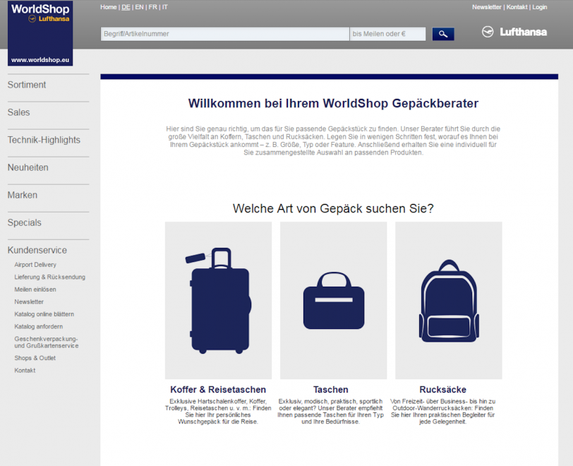 Screenshot des digitalen Gepäckberaters des Lufthansa Worldshops für das Retourenmanagement.