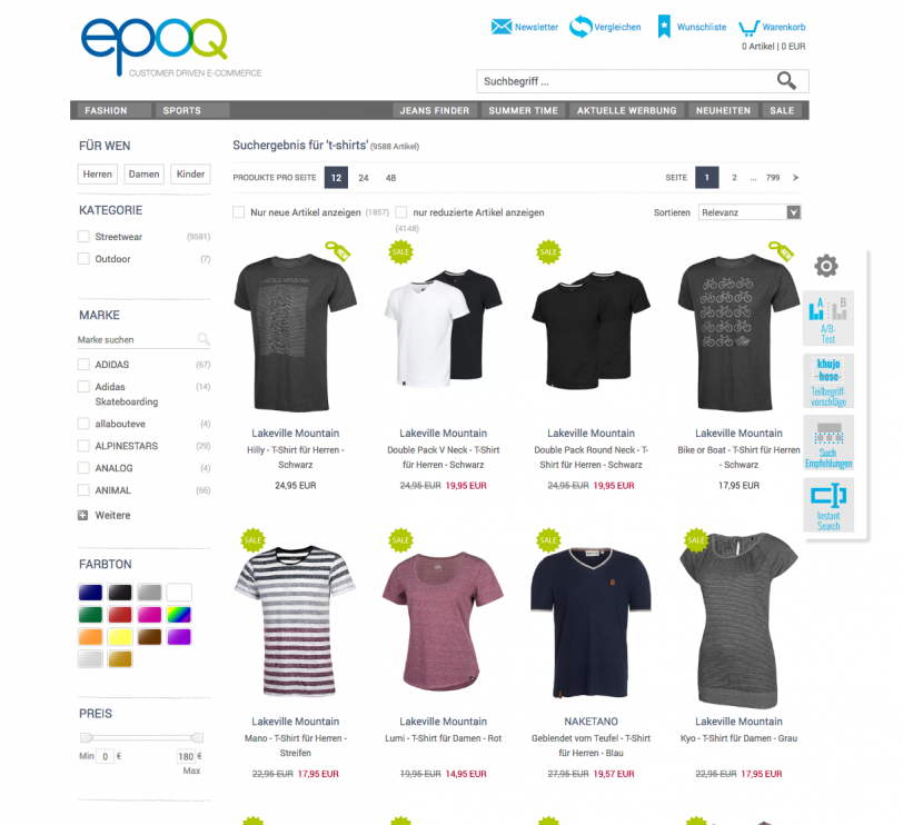 epoq Demo-Shop und die Anwendung der Suchtechnologie Umsortierung