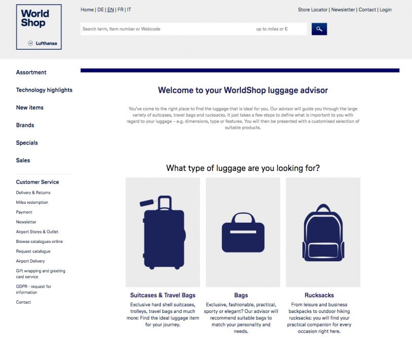 Screenshot of WorldShop's luggage advisor from Lufthansa