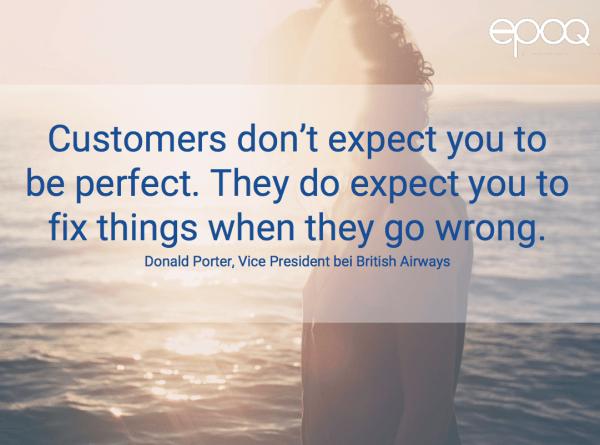 Dargestellt wird ein Zitat zum Thema Customer Experience von Donald Porter, dem Vice President bei British Airways.