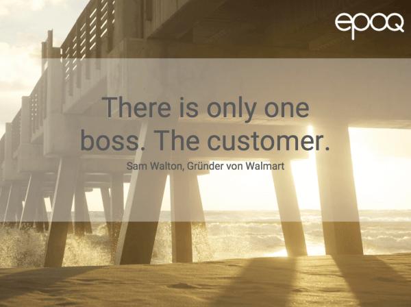 Dargestellt wird ein Zitat zum Thema Customer Experience von Sam Walton, dem Gründer von Walmart.