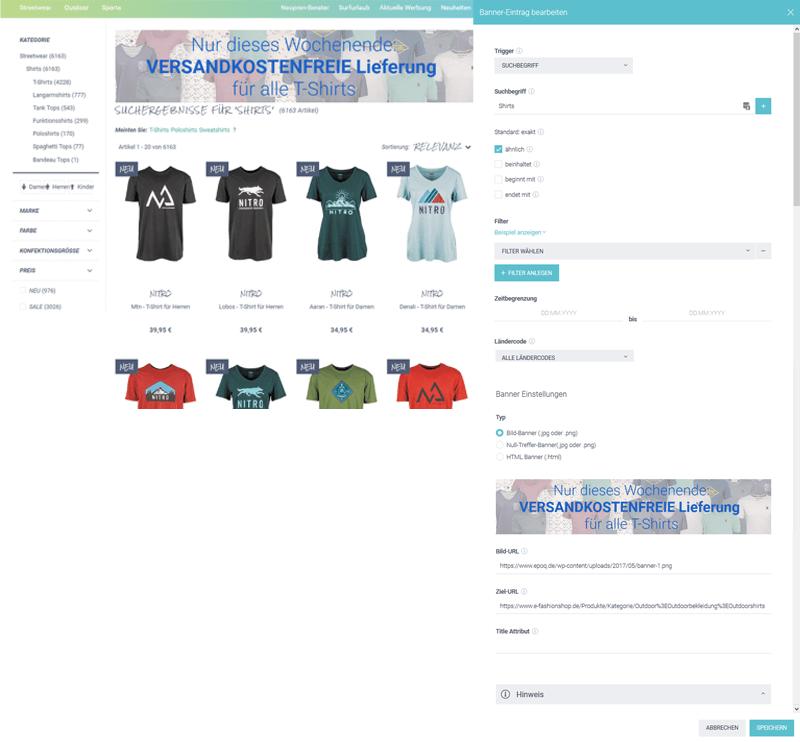 """Das Bild zeigt die Vorschau für den Banner-Eintrag """"Versandkostenfreie T-Shirts"""" sowie die Eingaben im Bannermanagement im epoq Control Desk."""