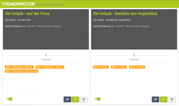 Angelegte Themenwelten im epoq Control Desk für digitales Storytelling