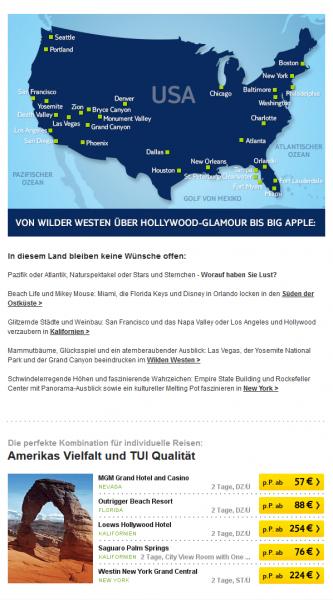 Der Screenshot zeigt ein Beispiel für E-Mail-Automation bei TUI. Dargestellt wird ein Newsletter mit dynamischer Preisausspielung.