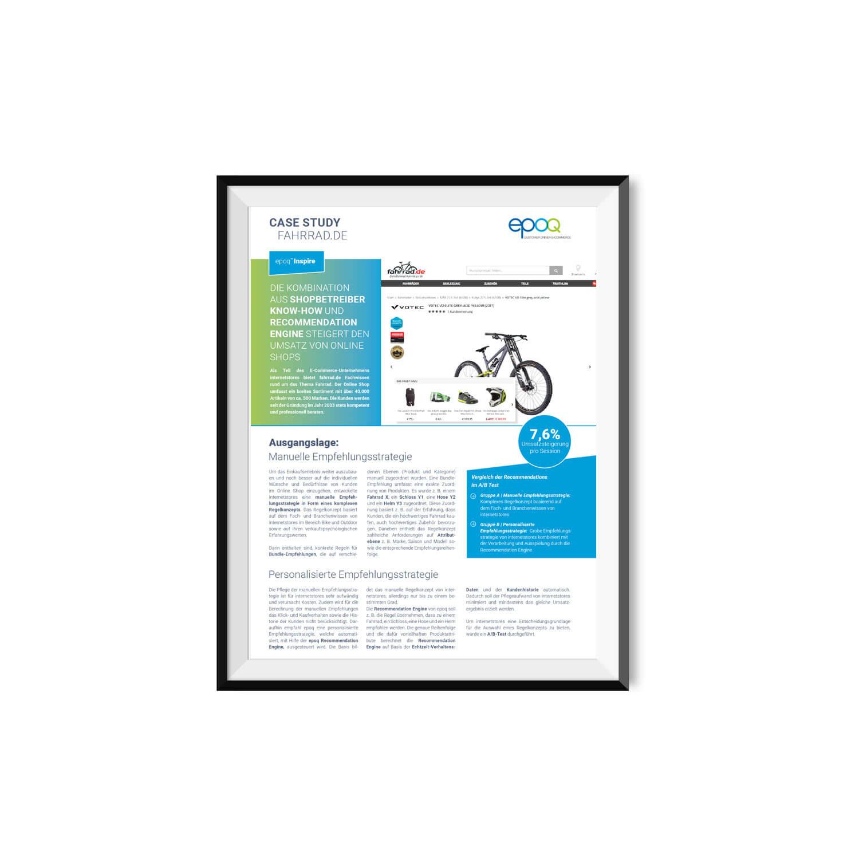 Ein Ausschnitt der Case Study von epoq mit fahrrad.de ist in einem Bilderrahmen zu sehen. Für die Case Study kamen E-Commerce Product Recommendations zum Einsatz.