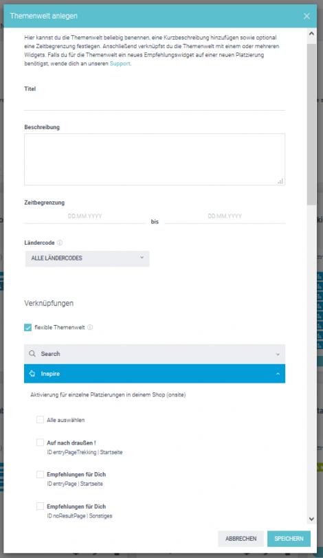 """Der Screenshot zeigt, wie digitales Storytelling im epoq Control Desk über """"Themen anlegen"""" umgesetzt werden kann."""