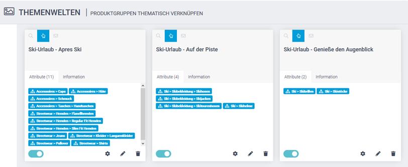 Der Screenshot zeigt das Feature Themenwelten im epoq Control Desk, mit dem digitales Storytelling realisiert werden kann. Man sieht verschiedene Themen, die im Control Desk angelegt sind.
