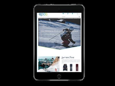 iPad mit dem epoq Demo-Shop zur Präsentation des digitalen Storytellings.