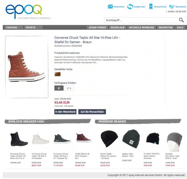 epoq Demo-Shop mit Personalisierung der Empfehlungen
