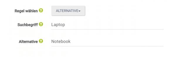 """Thesaurus-Regel """"Alternative"""" wird mit den Begriffen """"Laptop"""" und """"Notebook"""" angewandt"""