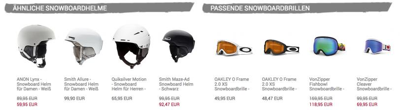 Dargestellt wird ein Screenshot, der zeigt, wie einem Kunden auf der Produktdetailseite ähnliche Snowboardhelme als Alternative sowie passende Snowboardbrillen als Zusatzartikel angeboten werden.