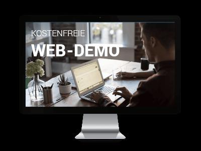 Das Bild zeigt einen Monitor mit der Vorschau für die kostenfreie Web-Demo zum Thema Product Suggestions.