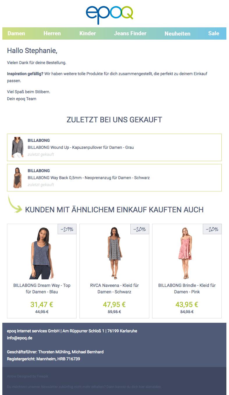 Der Screenshot zeigt eine personalisierte Transaktionsmail aus dem epoq Demo-Shop, die einen Online-Shopper nach dem Checkout-Prozess zurück in den Shop führen soll.