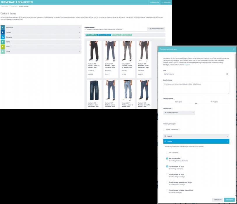 Der Screenshot zeigt die Erstellung von Themenwelten am Beispiel Cahartt im epoq Demo-Shop.