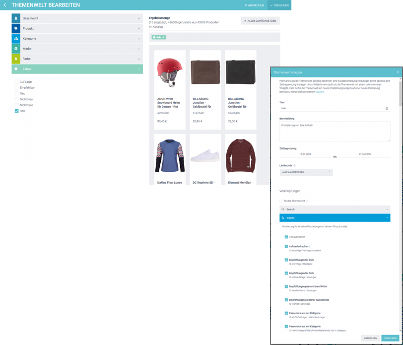 Der Screenshot zeigt die Erstellung einer Themenwelt am Beispiel Sale im epoq Demo-Shop.
