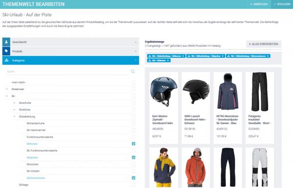 Der Screenshot zeigt die Einstellung einer Themenwelt für eine Landing Page im epoq Demo-Shop. Dargestellt wird die Ansicht im Backend.