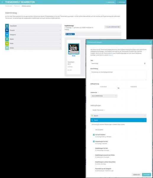 Der Screenshot zeigt die Erstellung einer Themenwelt am Beispiel Valentinstag im epoq Demo-Shop.