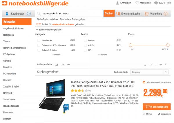 """Beispiel für die semantische Suche bei notebooksbilliger.de für Suchbegriff """"notebooks in schwarz"""""""
