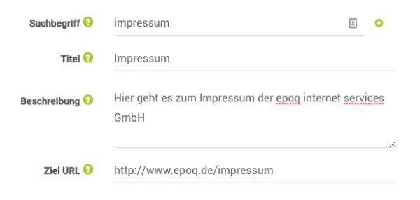 Beispiel aus dem Link Finder: Suchbegriff, Titel, Beschreibung, Ziel URL