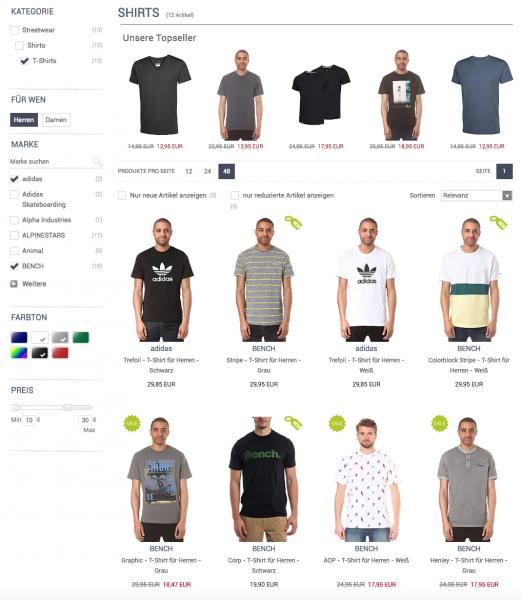 Beispiel für die Facettennavigation aus dem e-fashionshop.