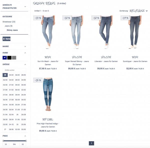 Customer Journey im E-Commerce: Beispiel für die Facettennavigation aus dem epoq Demo Shop