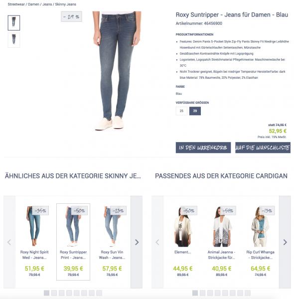 Customer Journey im E-Commerce: Beispiel für eine Produktdetailseite aus dem epoq Demo Shop