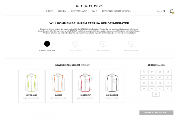 Guided Selling im E-Commerce am Beispiel vom Eterna-Hemdenberater.