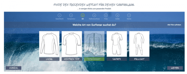 Guided Selling im E-Commerce in Form eines Neoprenberaters.