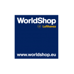 The image shows the logo of the online shop WorldShop Lufthansa. WorldShop Lufthansa is one of epoq's customers.