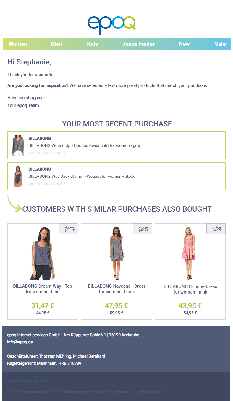 Example of a personalized transaction email from our epoq demo shop