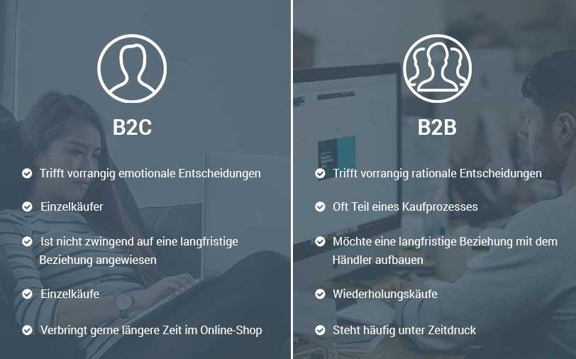 Das Bild zeigt einen Vergleich der Motive und Ziele von Kunden im B2C und B2B E-Commerce.