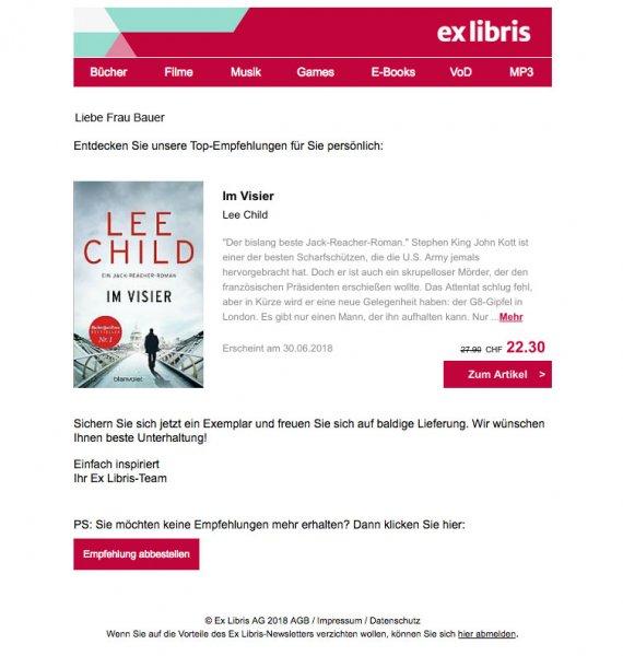 Screenshot einer personalisierten Nachricht einer E-Mail-Kampagne von Ex Libris, in der personalisiert eine Buchempfehlung ausgesprochen wird.